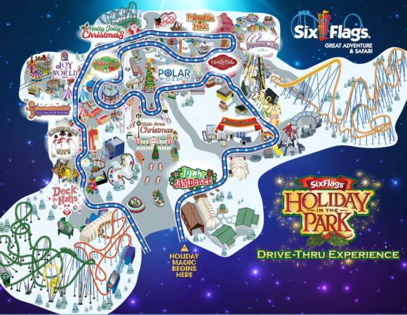 map of the Six Flags Great Adventure drive thru Christmas lights