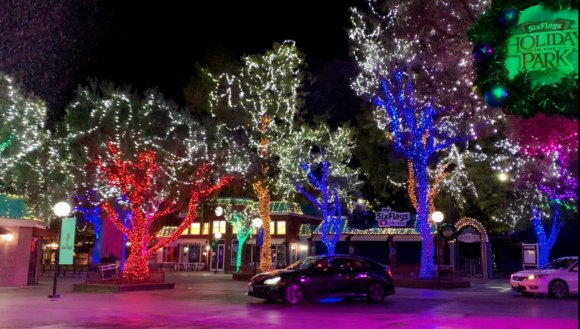Six-Flags-Great-Adventure-drive-thru-Christmas-lights-car-in-the-park