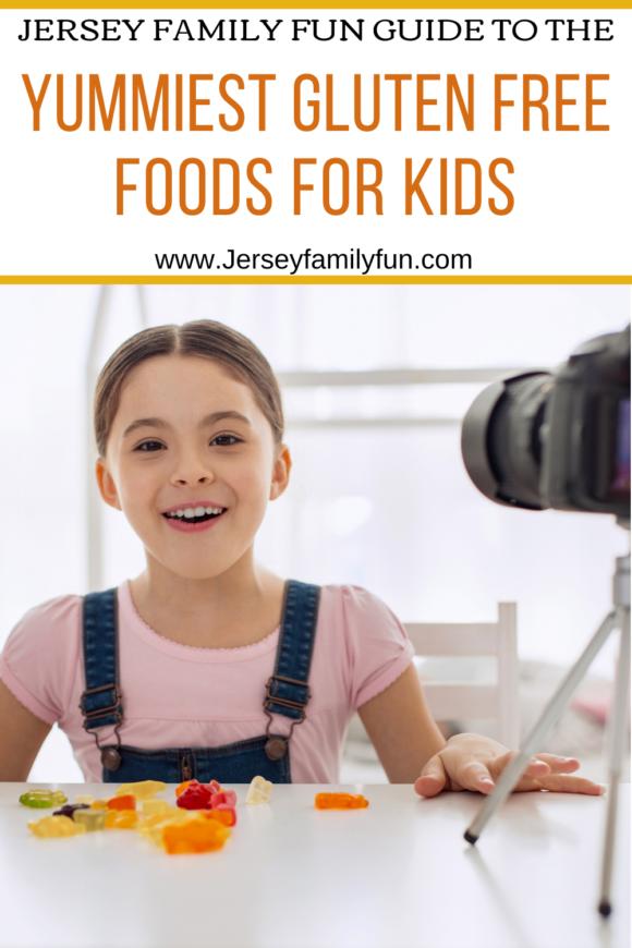 pinterest image. Girl taste tests gluten free foods in front of camera