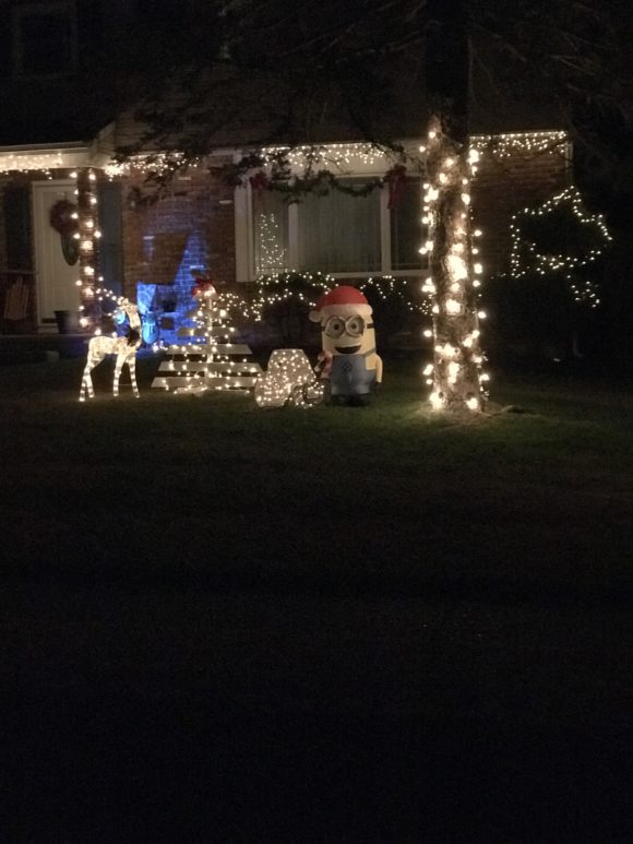 Holiday lights with minion at School House Lane in Washington Township NJ
