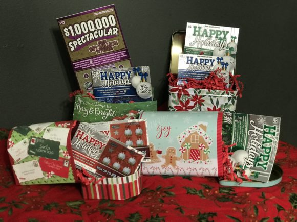 Horizonal image of gifts with NJ lottery tickets
