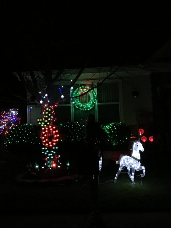 Absecon Christmas Lights in the Belaire Lakes neighborhood include words and unicorns.