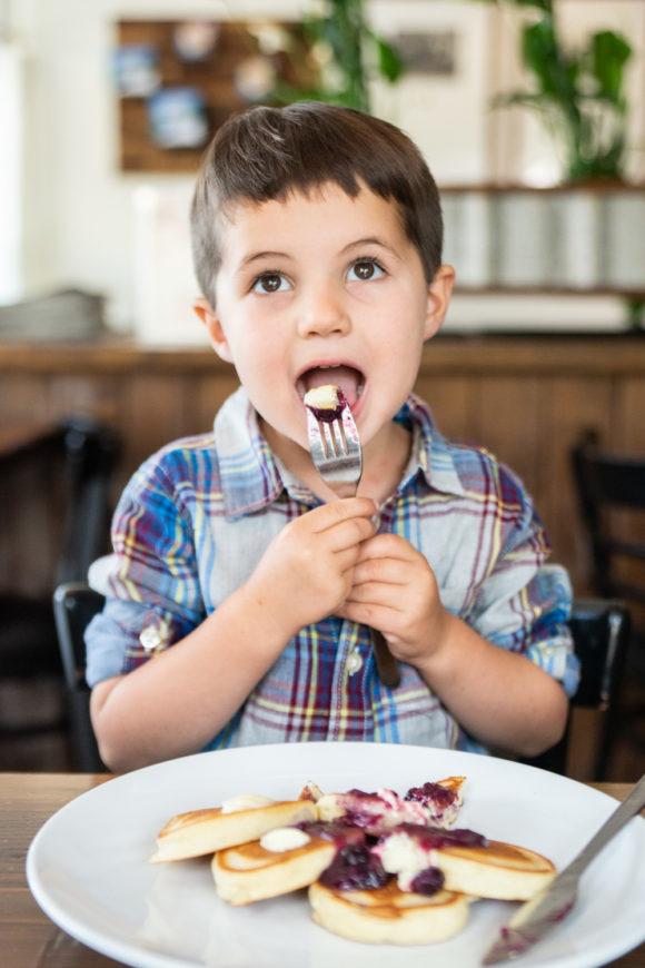 Josie's Best Gluten Free pancakes being eaten by a child
