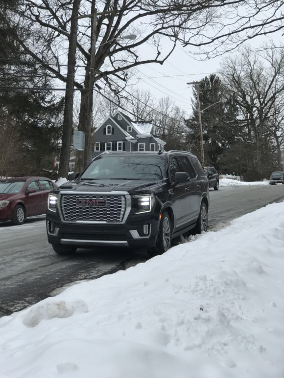 2021 GMC Yukon parked on the street at Grace Lord Park in Boonton, New Jersey.