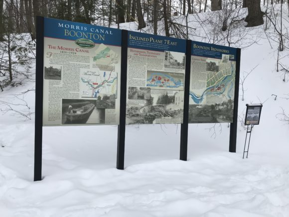Boonton Falls signage details the history of the Morris Canal