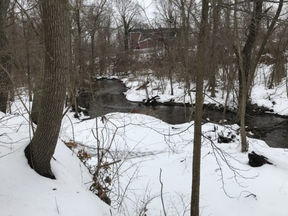 In Monmouth County NJ, Tinton Falls waterfall downstream horizontal picture
