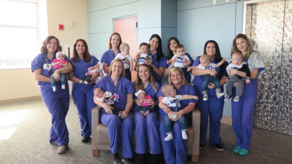 The South Jersey Inspira Maternity nurses help women with changes after pregnancy. Here they post with their own babies.