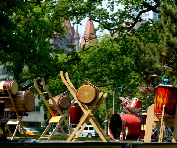 A collection of band instruments for a summer concert in the park