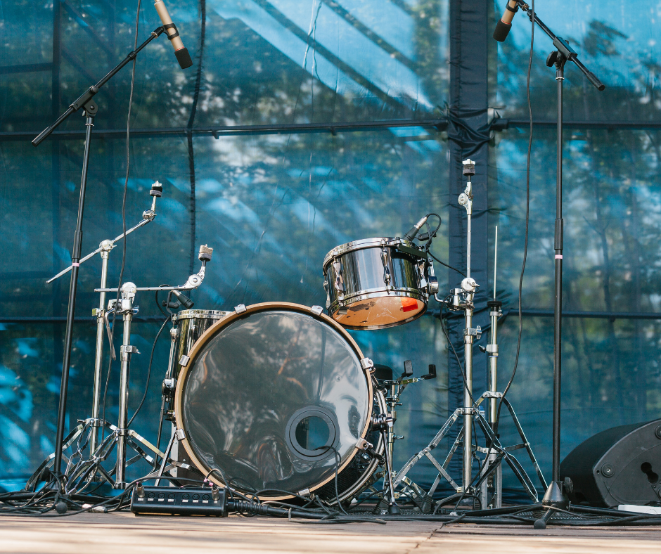 outdoor concert stage with equipment