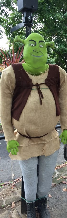 Scarecrow that looks like Shrek for Scarecrow Decorating contest at Historic Smithville park.
