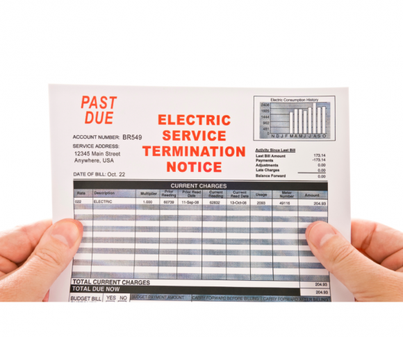 Termination notice for past due utility bill