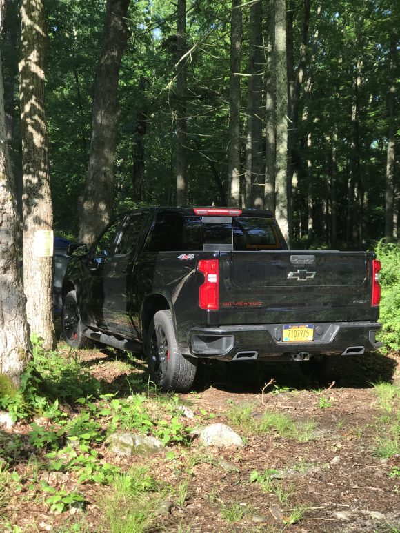 2021 Chevy Silverado at Stokes State Forest back end of truck