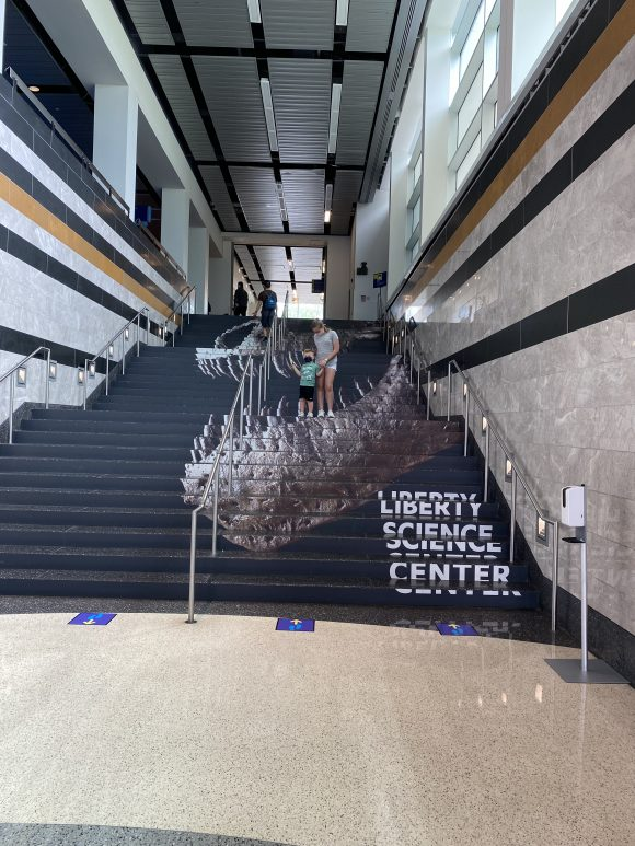 The steps of the Liberty Science Center present a really unique spot for a photo.