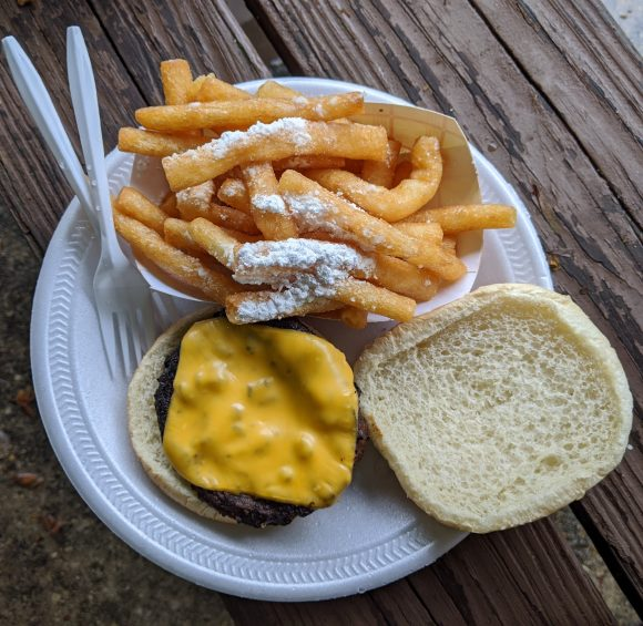 cheeseburger with funnel cake fries