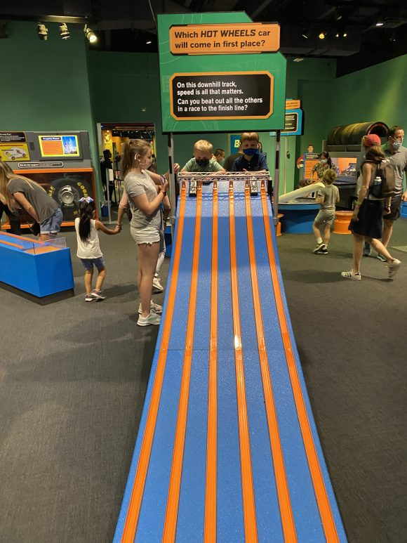 Hot wheels is another exhibit and play area for toddlers and preschoolers at the Liberty Science Center.