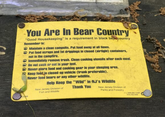 Lake Ocquittunk Camping area at Stokes State Forest picnic tables have bear warning signs