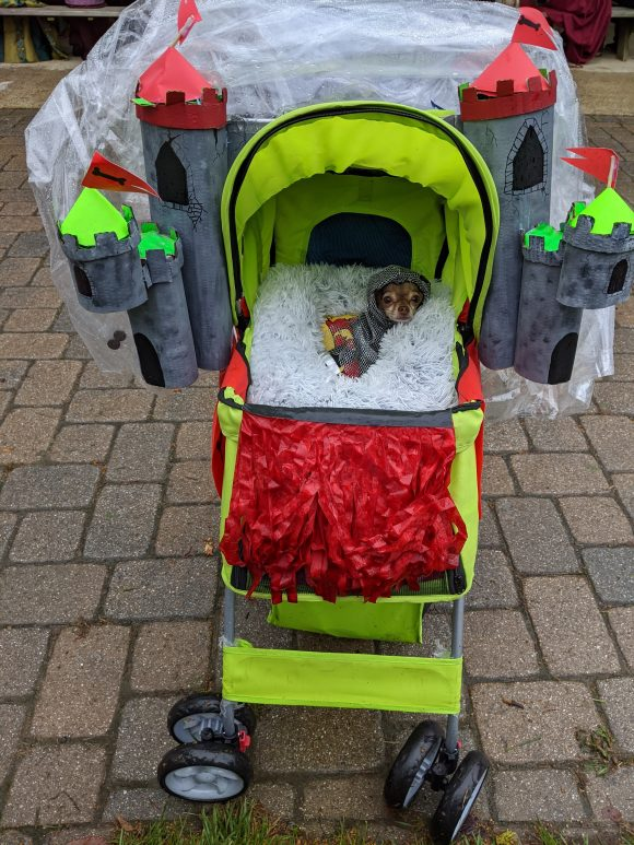 a dog attends the NJ renaissance faire in a stroller decorated as a castle.