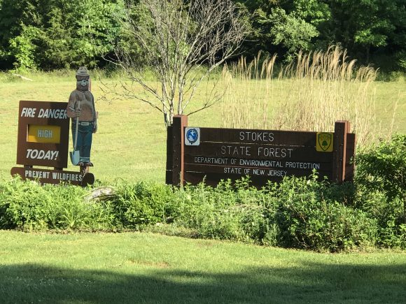 Stokes State Forest entrance sign