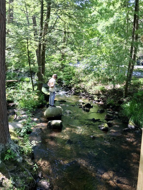 Boy stands on boulders of stream at Stony Brook Falls area at Stokes States Forest