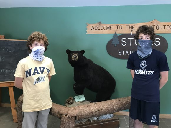 Boys pose with stuffed bear at Stokes State Forest