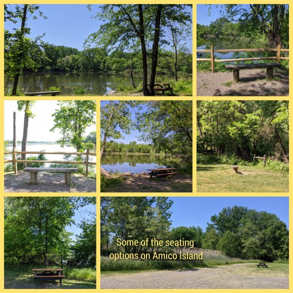 seating options at Amico Island in Riverside, NJ
