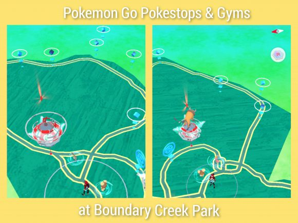 Pokemon Go Pokestops and Gyms at Boundary Creek Park in Moorestown NJ.