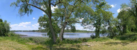 Panoramic view of Rancocas Creek at Laurel Run Park in Delran, NJ