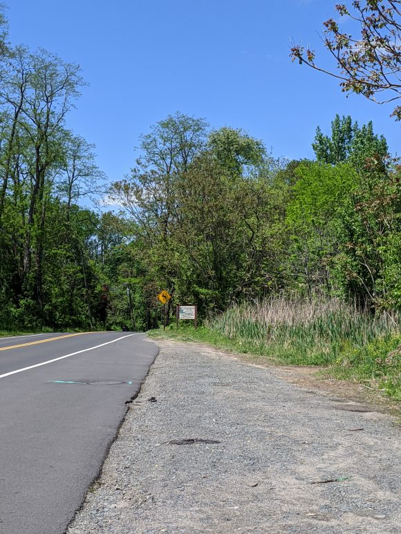 Park on the side of the road to hike at Little Woods on the Rancocas in NJ.