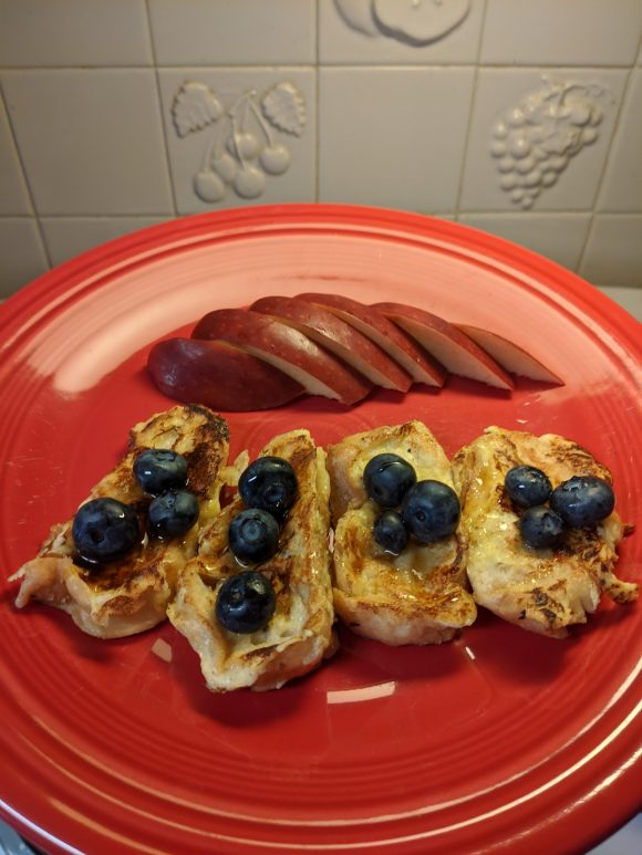 blueberries with Baguette French Toast