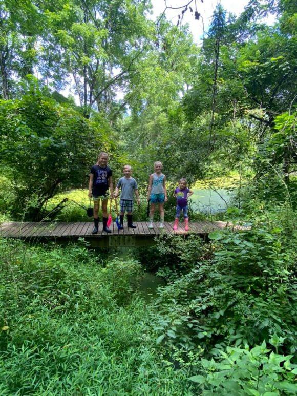 Big Brook Preserve family picture on wooden platform