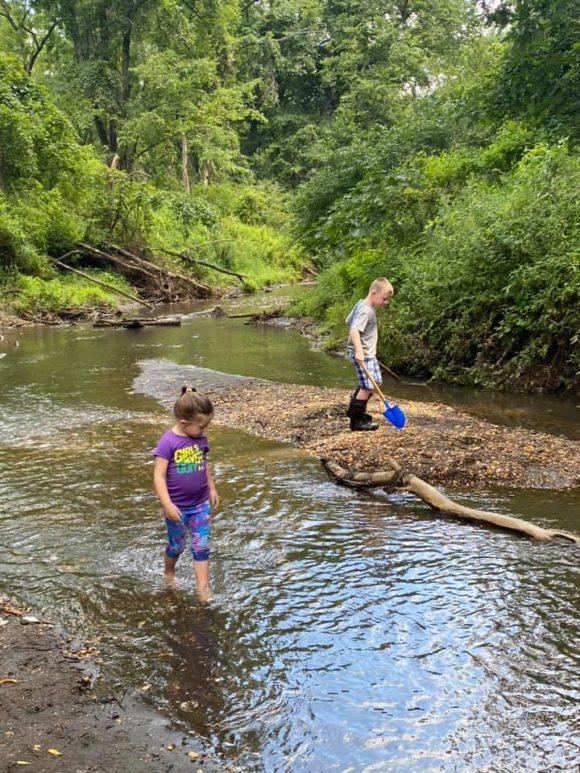 Big Brook Preserve kids wading in water