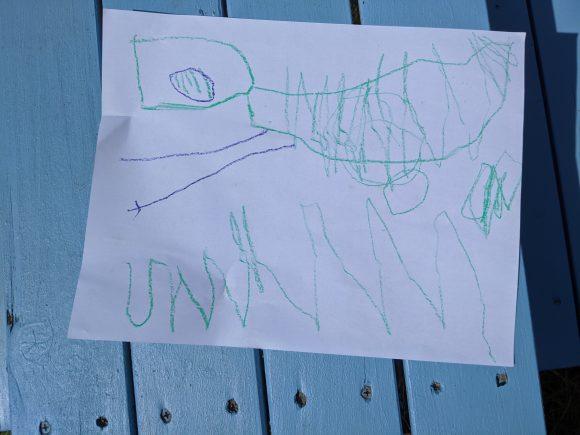 a preschooler's drawing of a dinosaur at Field Station Dinosaurs