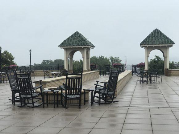 Rain on patio at the Hotel Hershey
