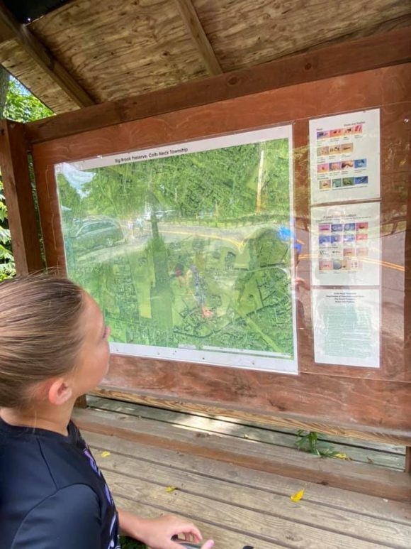 lookin at the Big Brook Preserve  map before searching for dinosaur fossils