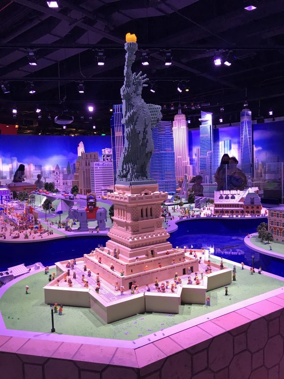 Statue of Liberty made from Lego bricks in the miniland at Legoland Discovery Center New Jersey