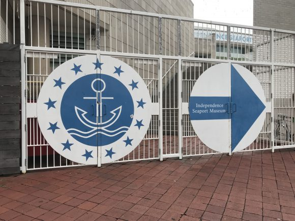 entrance gates for the Independence Seaport Museum in Philadelphia