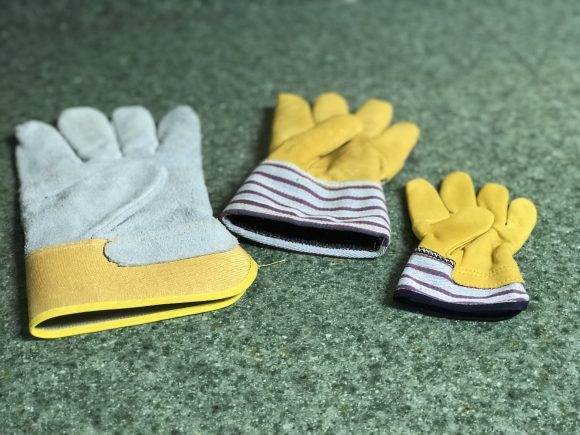 gloves for holding animals in different sizes