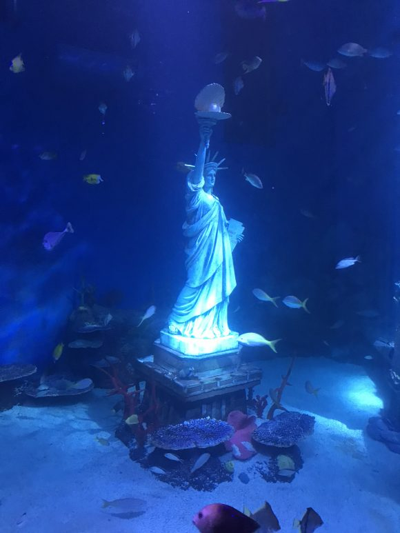 statue of liberty with fish in underwater tank at Sea Life Aquarium New Jersey