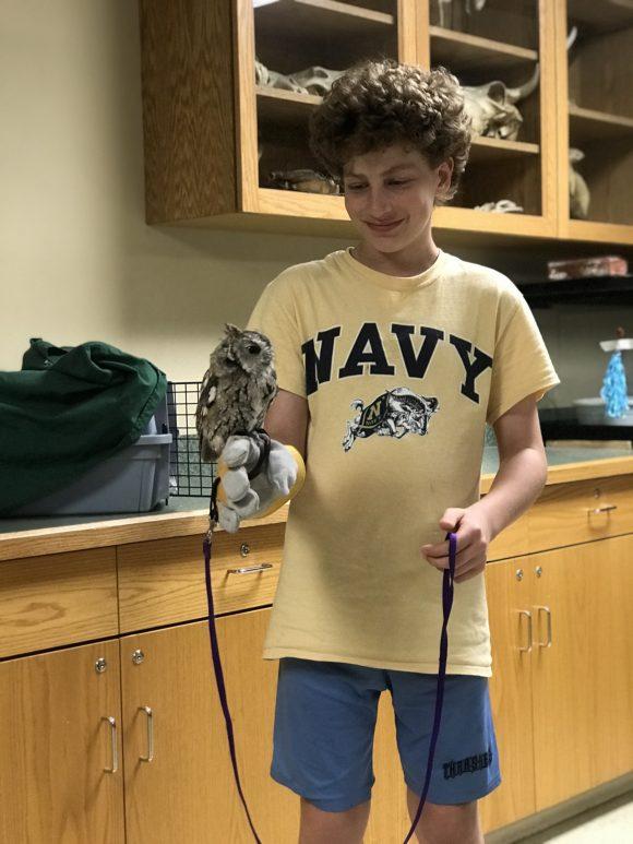 tween holds owl during ZooAmerica behind the scenes tour